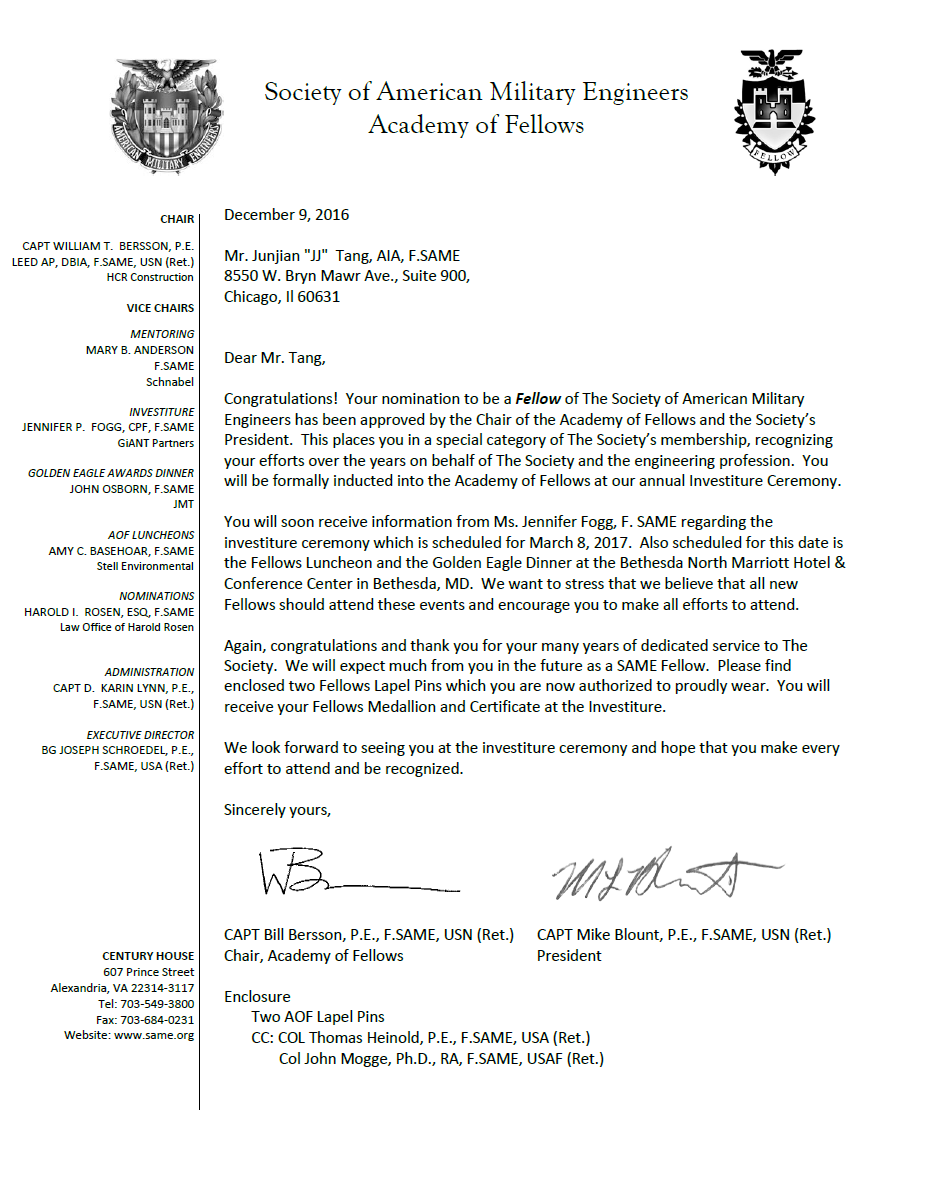 In the news society of american military engineers same lake from the congratulatory letter received by jj tang of the lake michigan post congratulations 1betcityfo Gallery